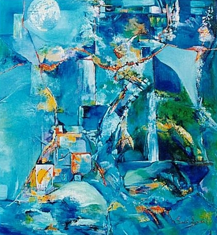 """Blues in the Moment.  II"" by Sarah Larsen, mixed media artist and teacher, of Thangool, central Queensland, Australia"