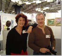 Sarah with Martin Abspoel, bronze sculptor, from the Netherlands, who she met at the Biennale Internazionale Dell'Arte Contemporanea, in 2003.